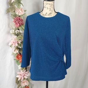 NWT Simply Styled Teal Crinkle Knot Blouse size L
